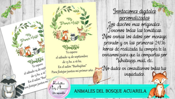 Invitación Digital Animales Del Bosque Acuarela