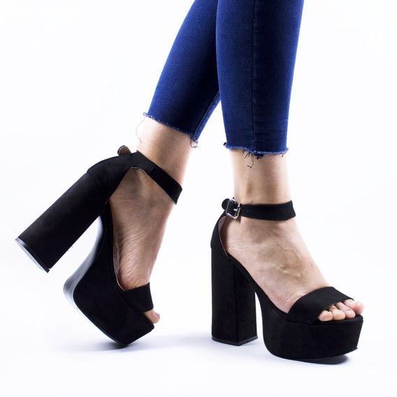 Zapato Sandalia Mujer Fiesta Taco Alto Gamuzados Plataforma