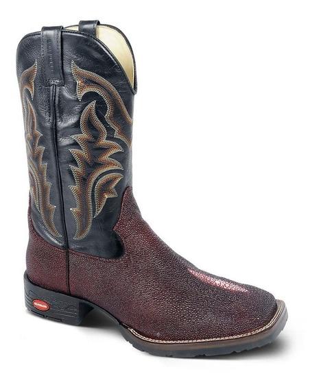 Bota Country Texana Exótica Bq Couro Arraia E Mustang Mascul