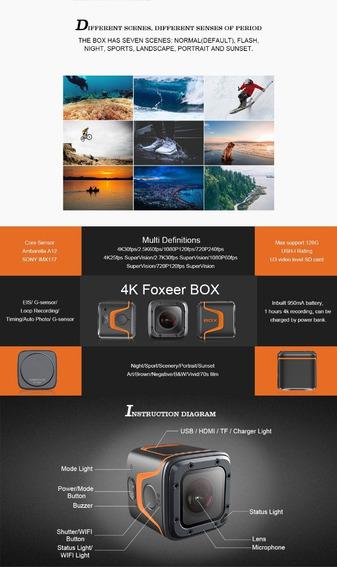 Câmera De Ação Foxeer Box 4k + Vidro Frontal Sobressalente