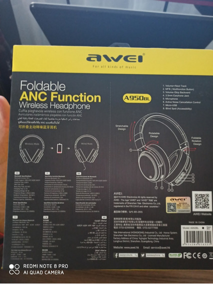 Headphone Bluetooth A950bl Awei C/ Tecnologia Anc