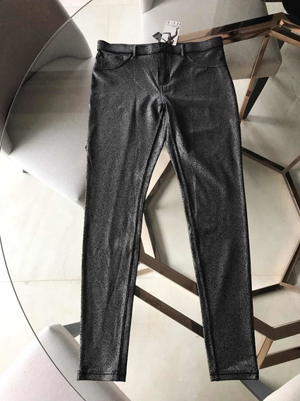 Leggings Color Plata Metalico Marca Hue