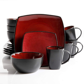 Set De Vajilla 16 Piezas Soho Lounge Gibson Color Rojo