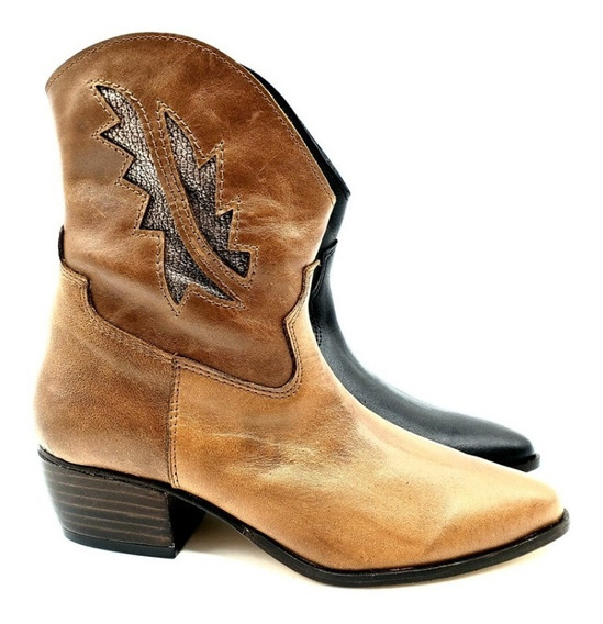Botineta Bota Corta Texana Cuero Mujer Zapato 1235fb