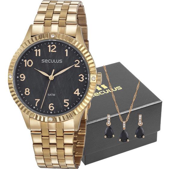 Kit Relógio Feminino Seculus Com Colar E Brincos 77047lpsvds