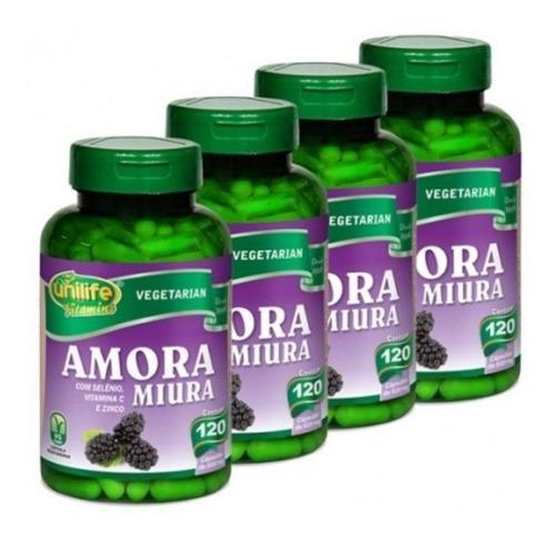 Kit C/ 4 Amora Miura 120 Cápsulas 500mg Unilife Extrato Seco