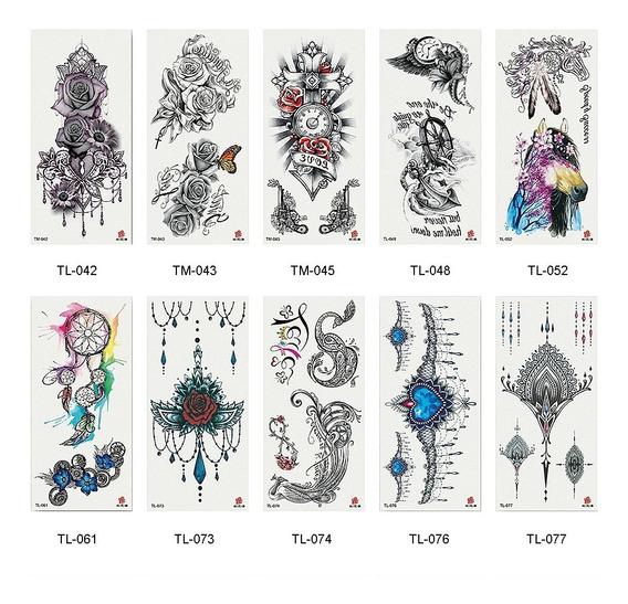 10 Sheets Grande Tatuagens Falsificação Temporário Gergeous