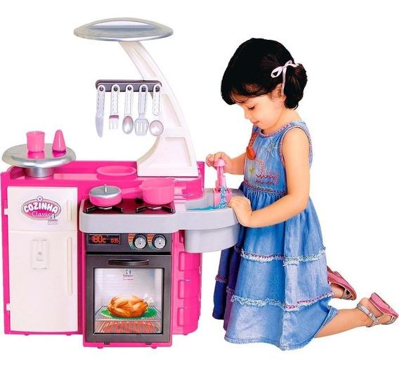 Mini Cozinha Classic Infantil Armário Pia Fogão Rosa