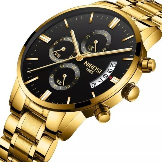 Reloj Hombre Nibosi 2401 Original De Lujo Cronografo +extras