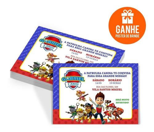 Imagem 1 de 5 de 10 Convites Aniversário Menino Patrulha Canina + Brinde!