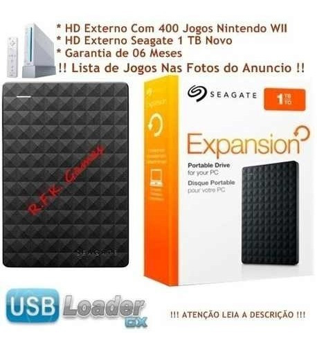 1tb Hd Externo Nintendo Wii Com 400 Jogos Wii + Emuladores