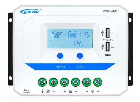 Controlador De Carga Solar Pwm 60a 12v/24v Epever Automático