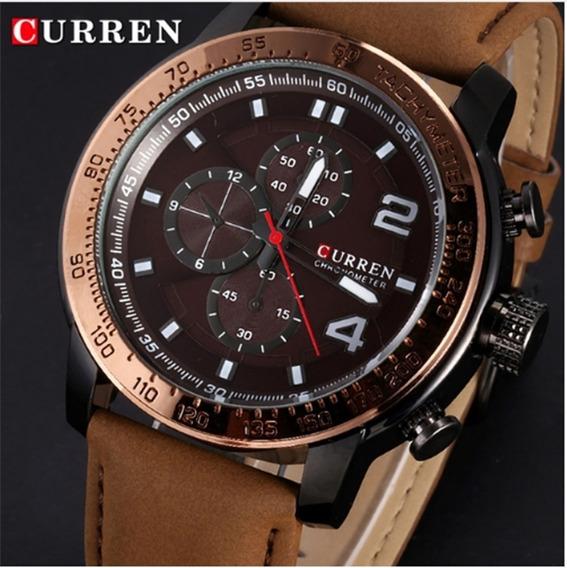 Relógio Masculino Curren 8190 Pulseira Em Couro Frete Grátis