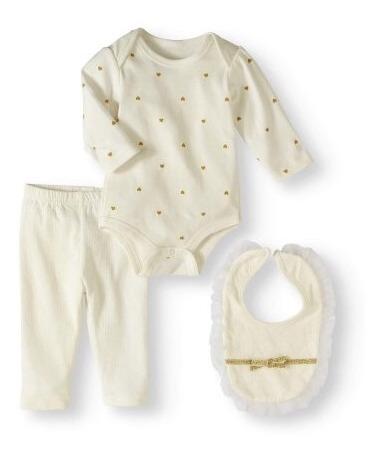 Conjunto Infantil Kit 3 Peças Bebê Menina Importado