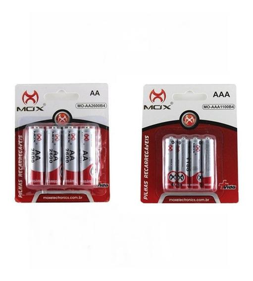 Combo Pilhas Mox Recarregável 4 Aa 2600 Mah E 4 Aaa 1000 Mah