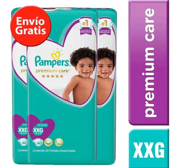 3 Paquetes Pañales Pampers Premium Care 204u. Talla Xxg