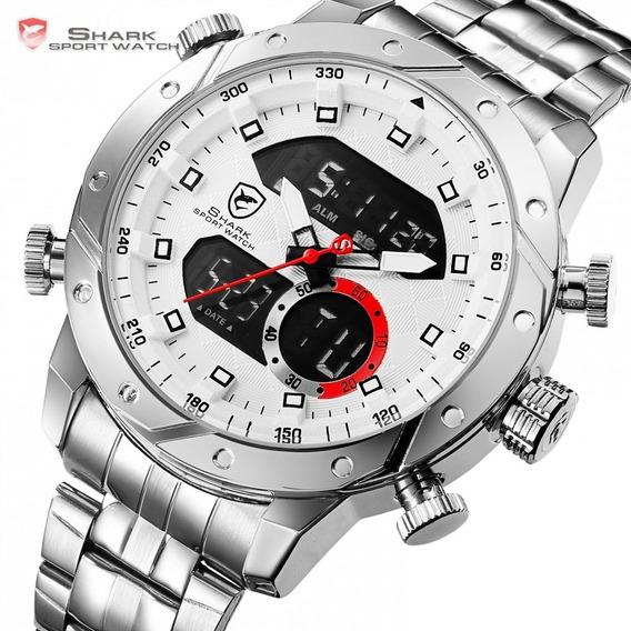 Relógio Masculino Shark Anadigi Sh-589 - Prata E Branco