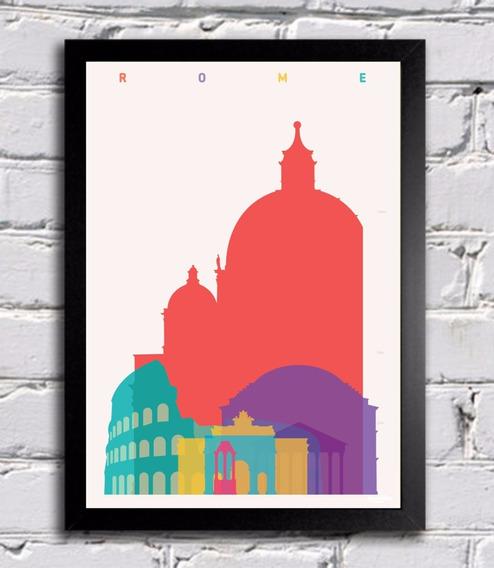 Poster Com Moldura Roma Itália Colorido Quadro Decoração