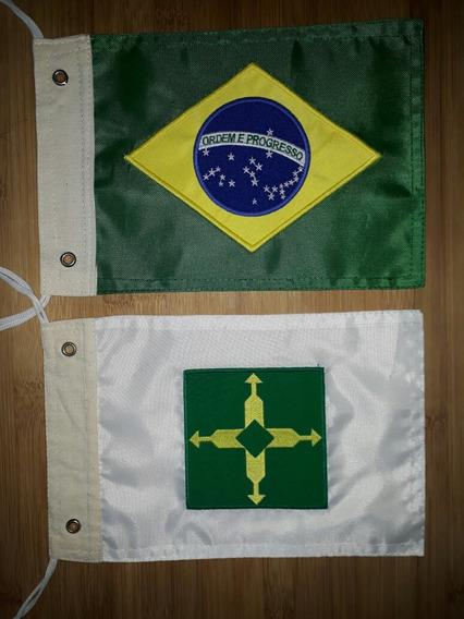 Kit Bandeira Moto Brasil E Distrito Federal, Bordadas Dupla