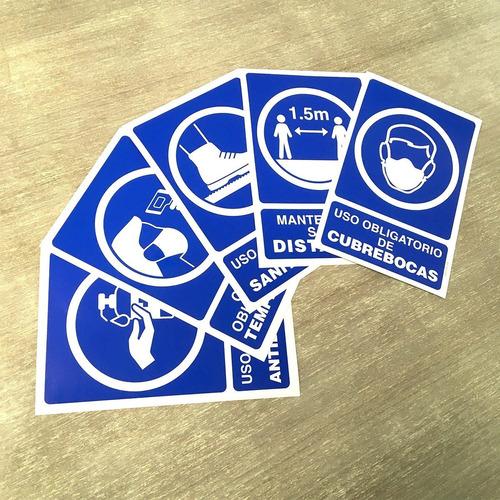 Imagen 1 de 2 de Kit- Paquete Señalamientos Contingencia Sanitaria Adhesivos