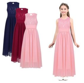 Vestido De Niña Juvenil Largo Casual Matrimonio Elegante