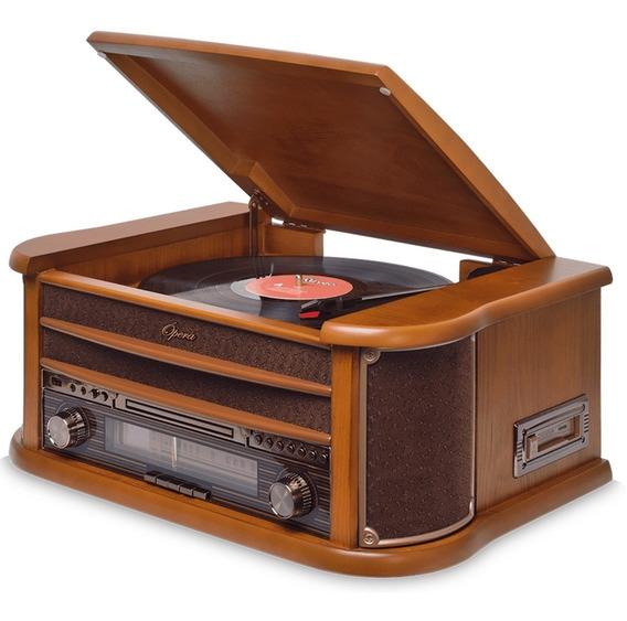 Vitrola Toca Discos Vinil Raveo Opera Retrô Bluetooth, Rádio Fm, Cassete, Cd Player, Usb, Saída De Áudio, Auxiliar