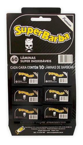 Imagem 1 de 3 de Lâmina De Barbear Super Barba Black Premium 60 Unidades
