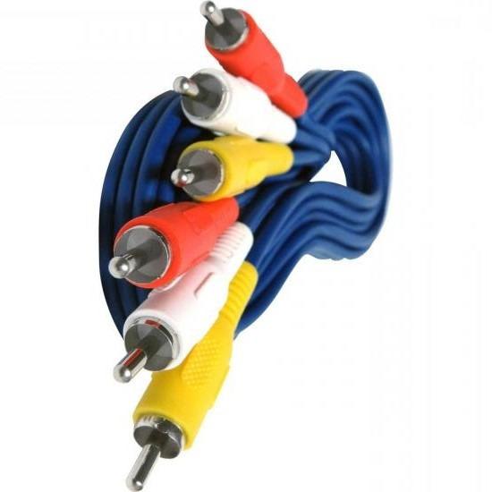 50 Cabos Audio E Video Azul 2m 3+3 Reforcado Otima Qualidade