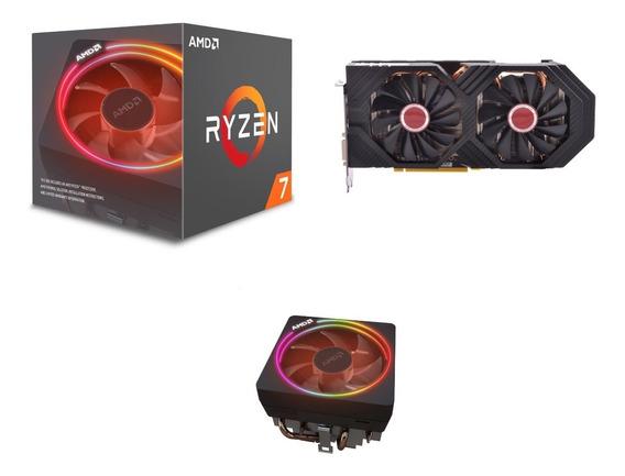Kit Processador Ryzen 7 2700x + Placa De Vídeo Rx 580 8gb