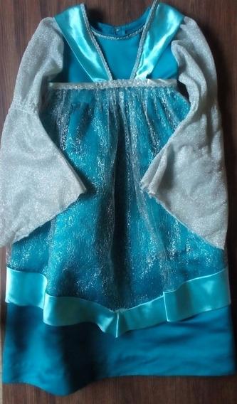 Vestido Azul Y Plata , De Niña, Princesa , Talla 8