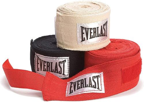 Vendas Everlast Set 3 Pares Blanca,negra,roja, Boxeo Mma 120