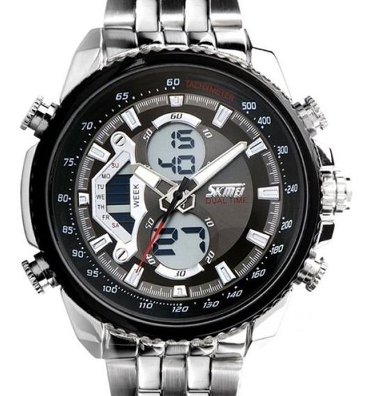 Relógio Masculino Skmei Anadigi 0993 Prata Nota Fiscal