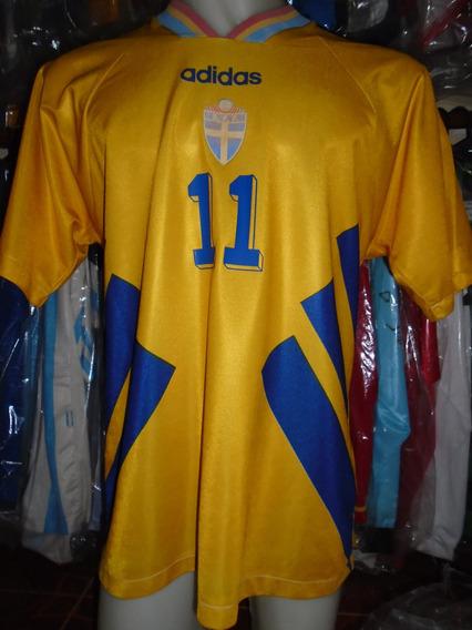 Camiseta Selección Suecia Mundial Usa 94 1994 Brolin #11 L