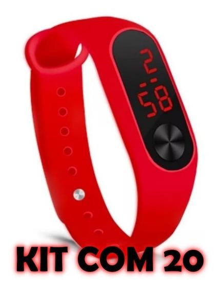 Kit Com 20 Relógios Bracelete Led Sport Unissex Atacado