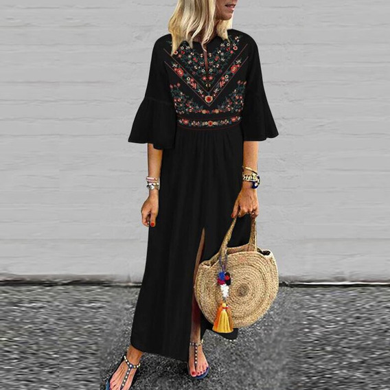 Mujeres Casual Floral Impresión Camisa Vestido Más Tamaño