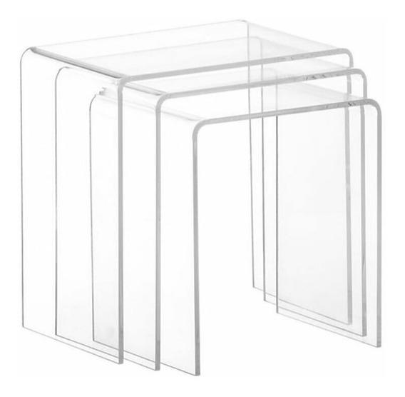 Mesa Canto Centro Acrílico Transparente Kit Com 3 Robusta