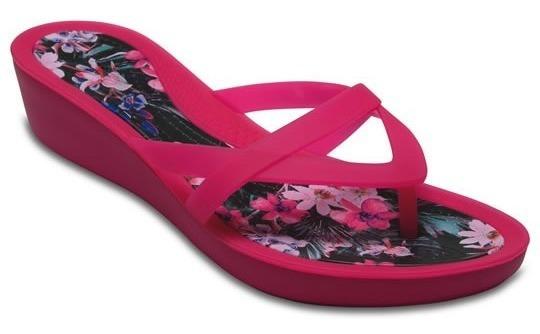 Sandalia Crocs Dama Isabella Print Wedge Flip Rosa