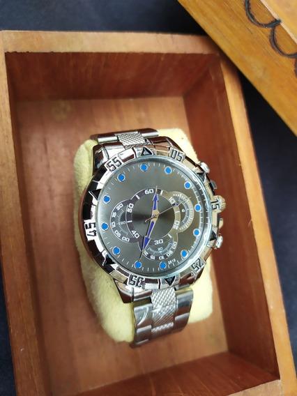 Relógio De Pulso Masculino Prata De Luxo