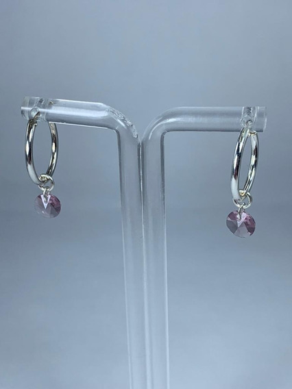 Argollas Plata Dije Cristal Swarovski Element Purple