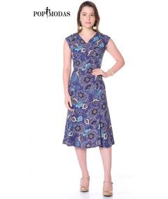 Vestido Evasê Midi Social Moda Evangélica Casual Tamanho P