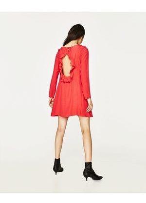 Vestido Zara Volados Coral