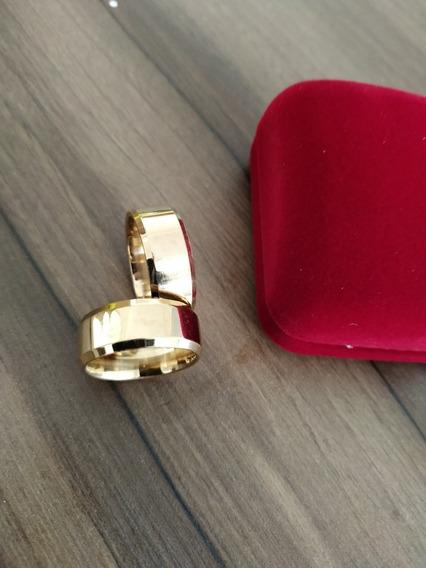 Par Alianças Moedas Antigas Cor Ouro Lisa+anel+brinde+frete