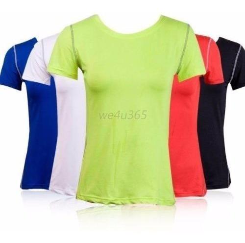 Camiseta Dama Spandex - Alta Compresion - Secado Rapido