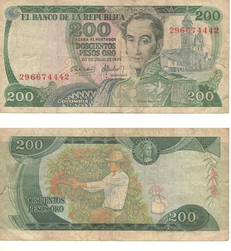 Imagen 1 de 1 de Colombia Billete 200 Pesos Oro Del 20 De Julio De 1978
