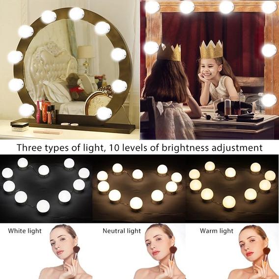 2 Kits De Maquiagem 3 Cores 10 Lâmpadas Led Auto-colantes
