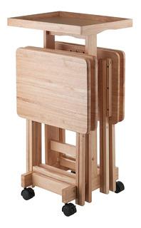 Set De Mesas Plegables Y Base Madera Natural Winsome Wood