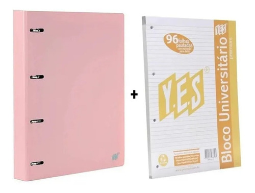 Fichário Caderno Argolado Rosa Pastel Yes + 1 Bloco Extra A4