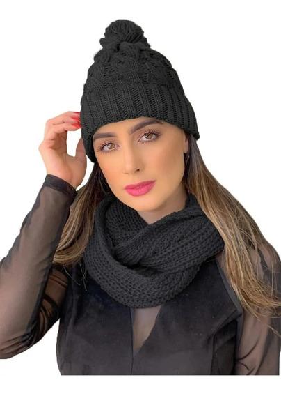 Kit Touca Gorro Tricot + Cachecol Gola Feminino Ref:991
