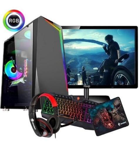 Pc Completo Gamer Com Monitor 19.5 Wide ! + 30 Jogos! Nfe