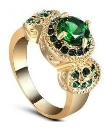 Anel Dourado De Formatura Pedra Verde Biologia